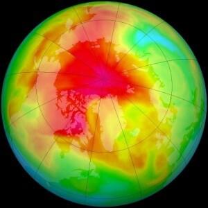 החור בשכבת האוזון מעל הקוטב הצפוני' 201. תצלום: NASA
