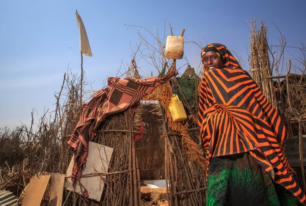לחלק גדול מתושבי המדינות המתפתחות גישה לשירותים נקיים וזמינים. בתמונה: שירותי בור ספיגה, מסומנים בדגל לבן, בכפר במחוז סומלי שבאתיופיה. צילום: UNICEF Ethiopia