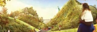 הדמייה של מיזם The Hills. הפארק כבר נהפך לאטרקציה תיירותית וכבר הוכיח את עצמו כמחסום יעיל לשטפונות והצפות