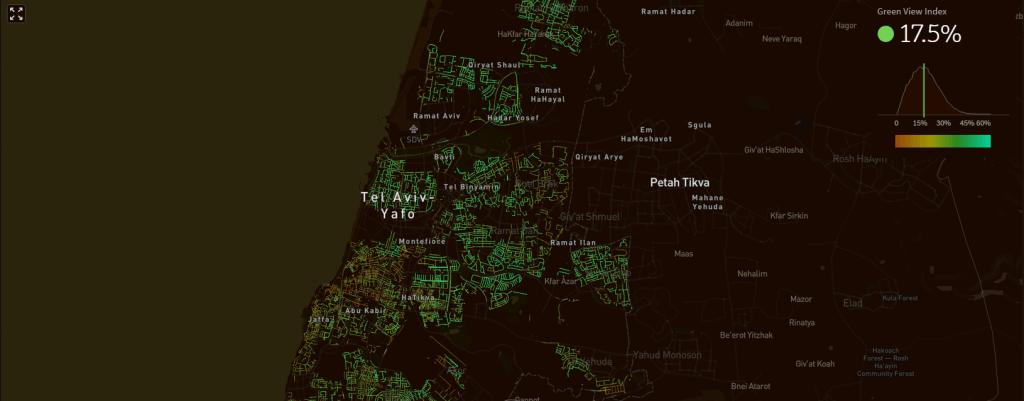 העצים של תל אביב. צילום מסך מתוך אתר treepedia
