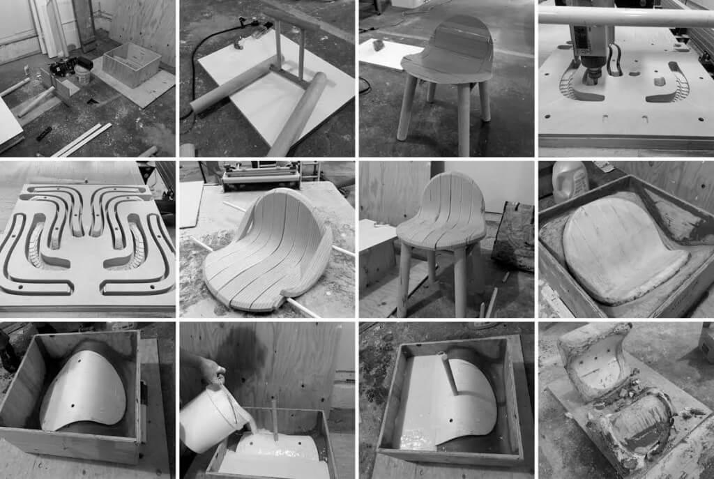 כיסא שעשוי ממוך שנאסף מכביסה