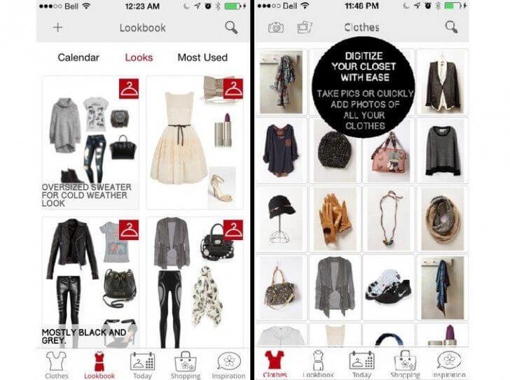צילום מסך מאפליקציית ניהול המלתחה stylicious