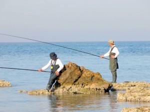 דיג חובבים ישראלים בחופי הים התיכון. צילום: אליעזר שוורץ, ויקיפדיה