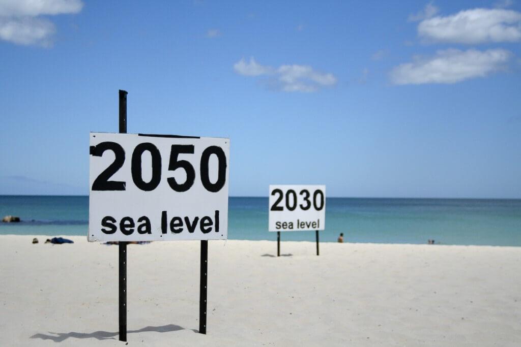 המחשה של העלייה הצפויה בגובה נפי הים בפרת', אוסטרליה. צילום: go_greener_oz, Flickr