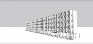 הדמיה של מתקן בסדר גודל תעשייתי ללכידת פחמן דו-חמצני מהאוויר. צילום מסך מתוך סרטון של חברת Carbon Engineering