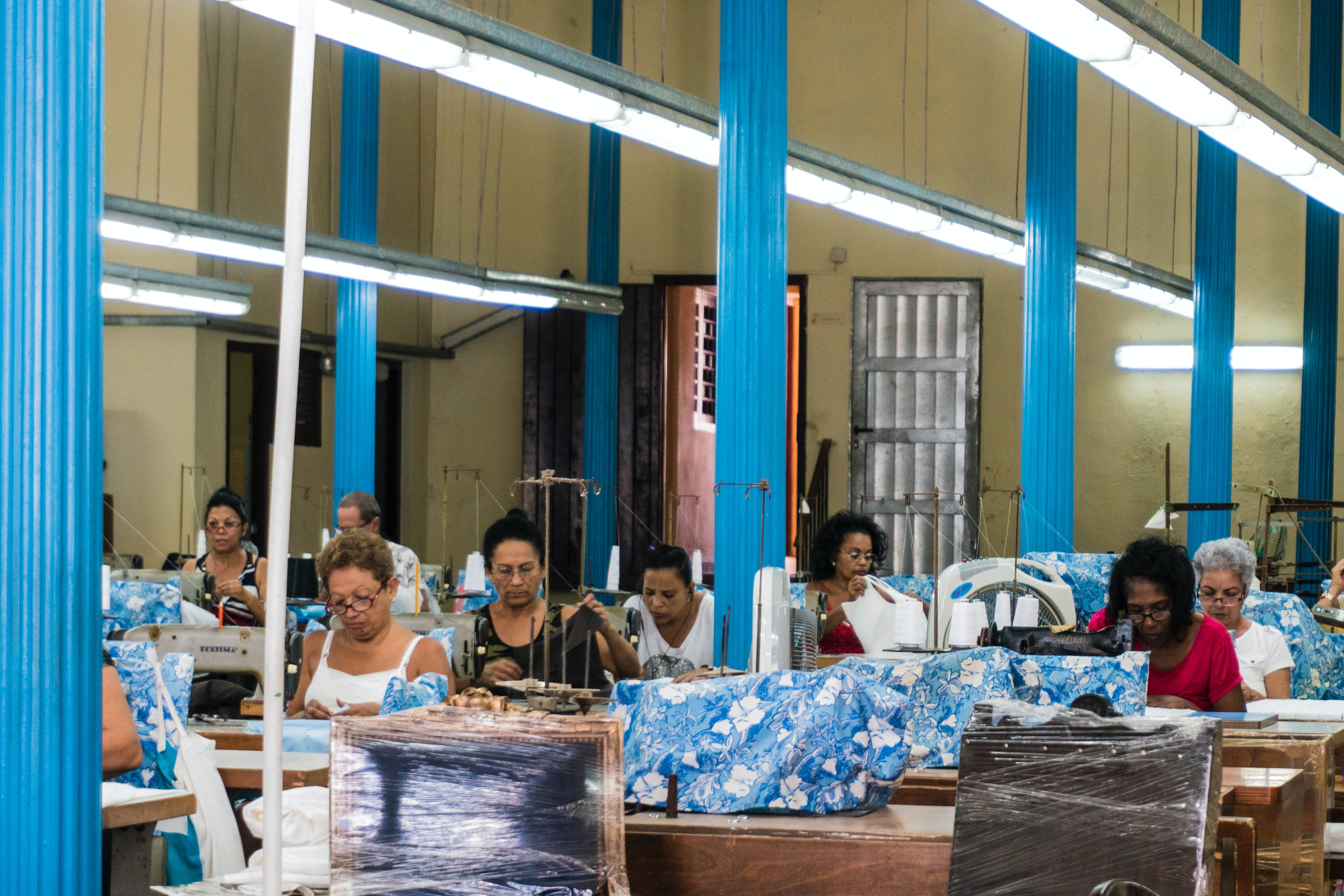 Chair making factory with workers in Havanna