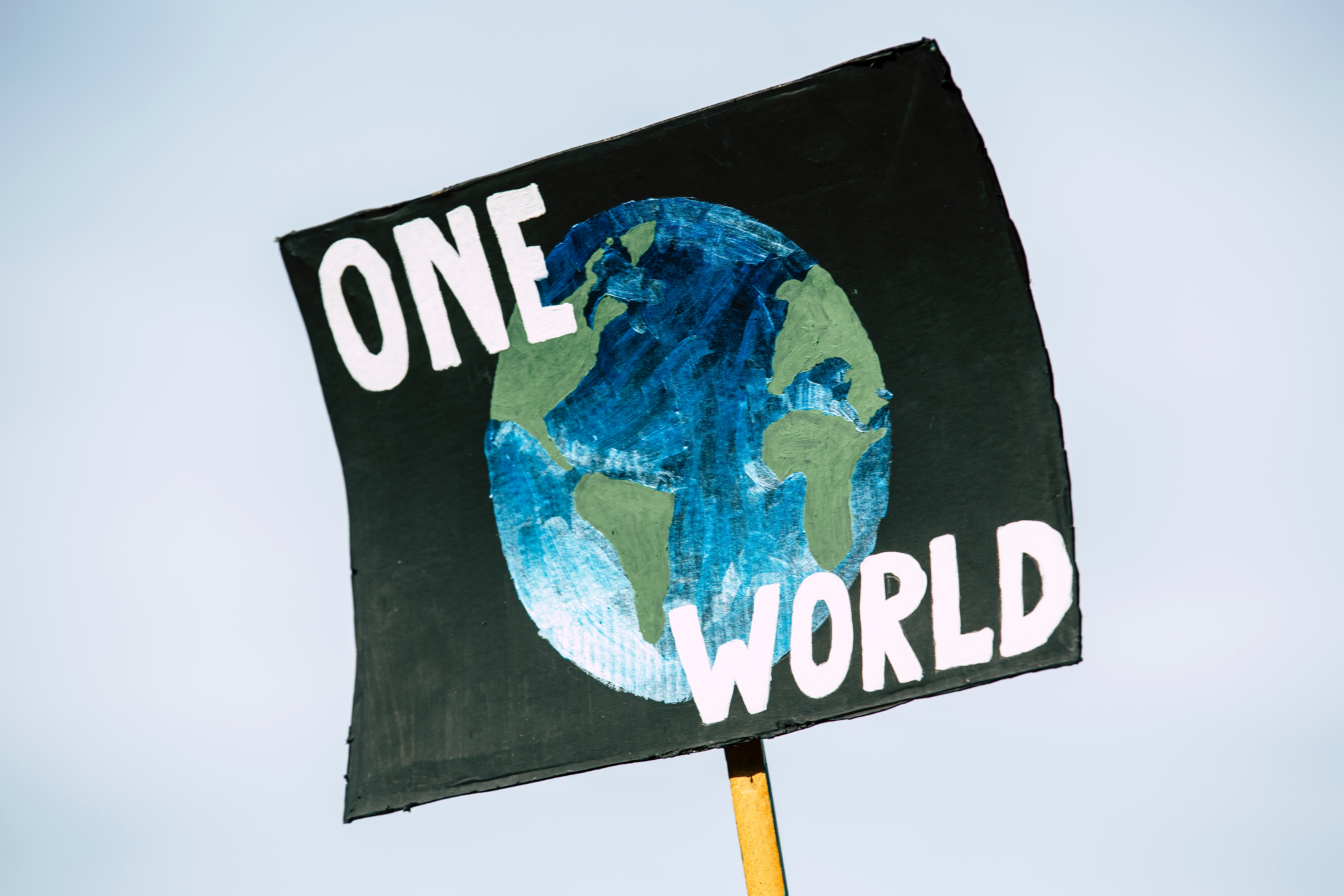 ONE WORLD. Global climate change protest demonstration strike - No Planet B - 09-20-2019